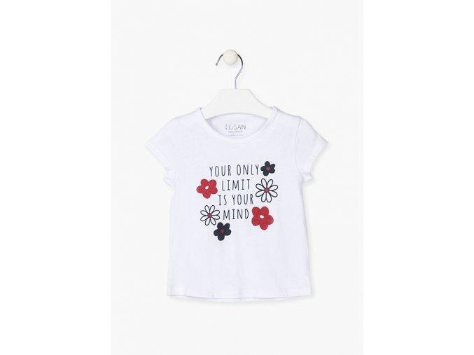 Dívčí tričko krátký rukáv s nápisem a kytičkami (v bílé a růžové barvě)