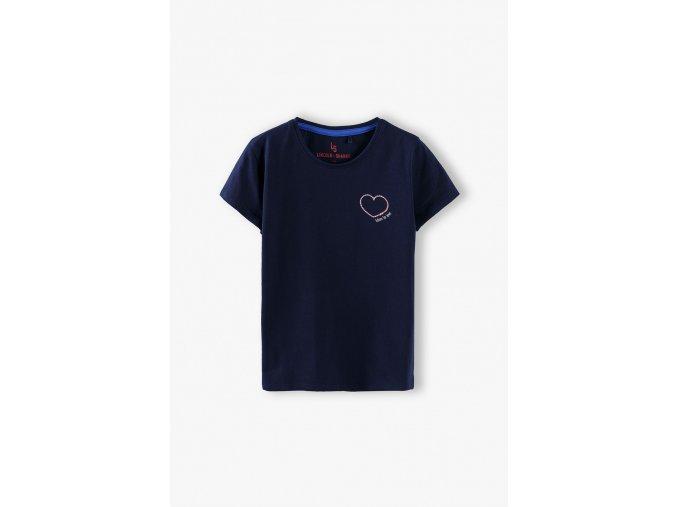 Dívčí tričko krátký rukáv se srdíčkem