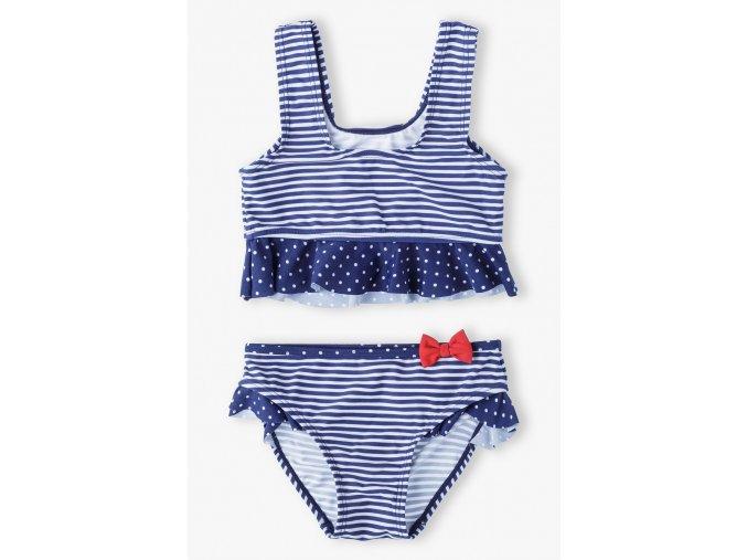 Dívčí dvoudílné modrobílé plavky