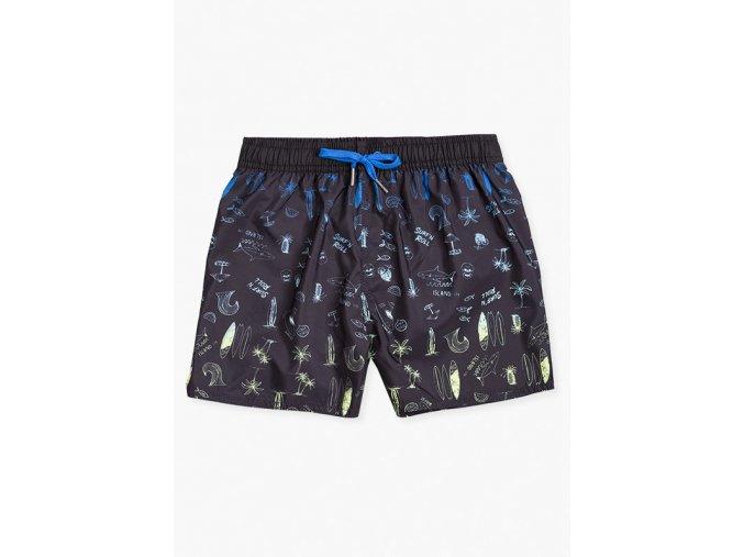 Chlapecké koupací šortky s potiskem (Barva Černá, Velikost 134/140)