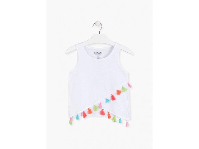 Tričko bez rukávů s třásněmi (Barva Bílá, Velikost 134/140)