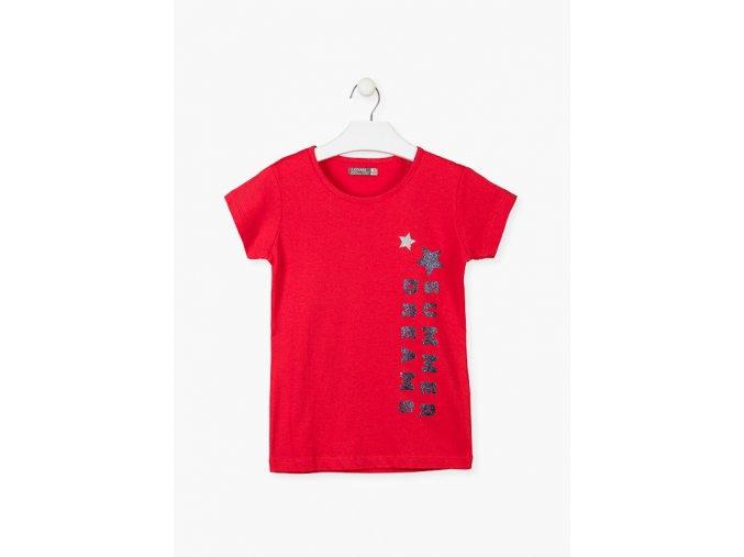 Tričko krátký rukáv s aplikací (Barva Červená, Velikost 134/140)