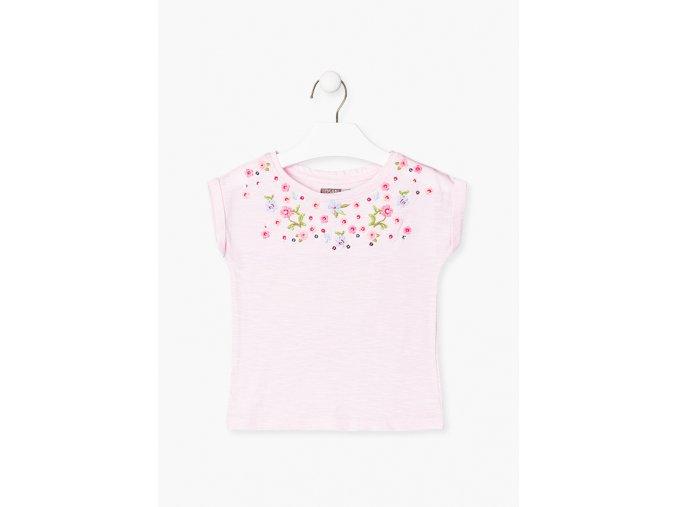 Tričko krátký rukáv s výšivkou (Barva Růžová, Velikost 92)