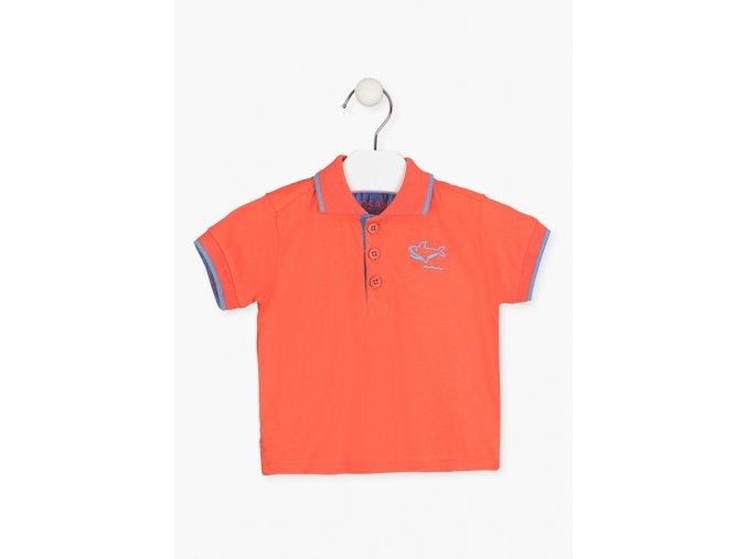Tričko s límečkem a výšivkou (Barva Oranžová, Velikost 86)