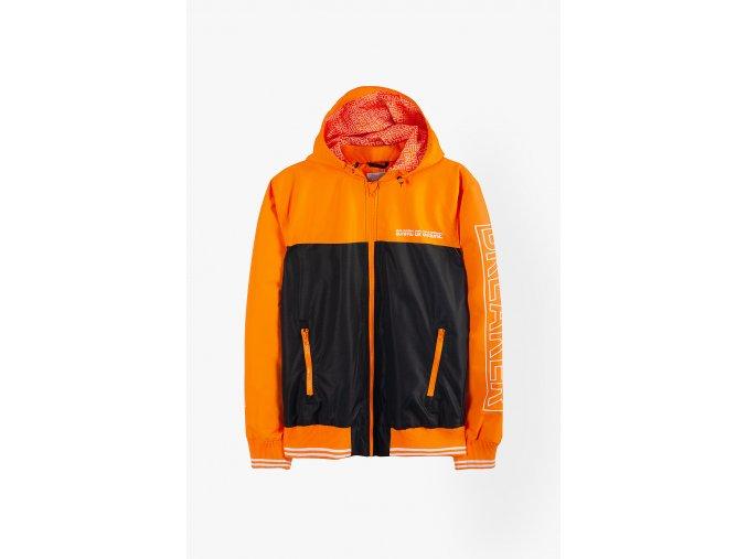 Přechodová bunda s kapucí (větrovka s fleecovou podšívkou) (Barva Oranžová, Velikost 134)