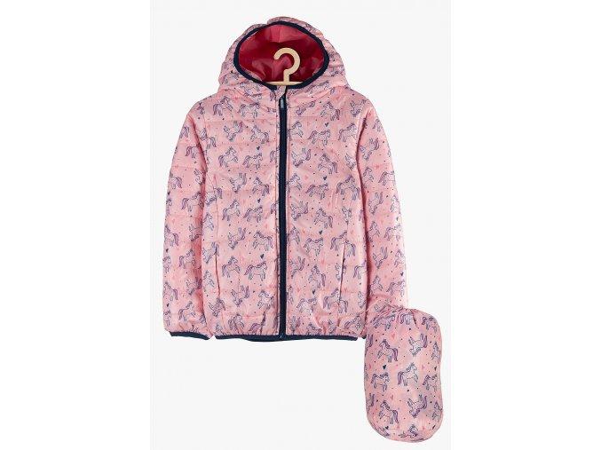 Přechodová bunda s kapucí a podšívkou (Barva Růžová, Velikost 104)