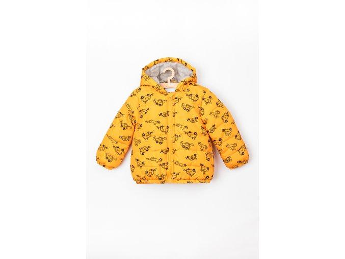 Přechodová bunda s kapucí a podšívkou (Barva Žlutá, Velikost 74)
