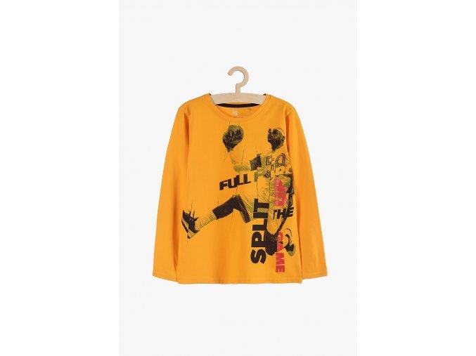 Tričko dlouhý rukáv s potiskem (Barva Oranžová, Velikost 134)
