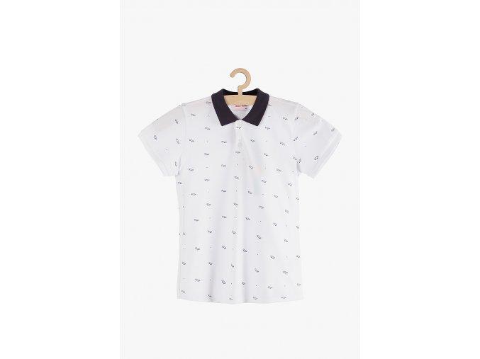 Tričko krátký rukáv s límečkem (Barva Bílá, Velikost 134)