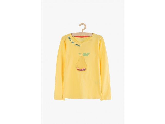 Tričko dlouhý rukáv s aplikací (Barva Žlutá, Velikost 104)