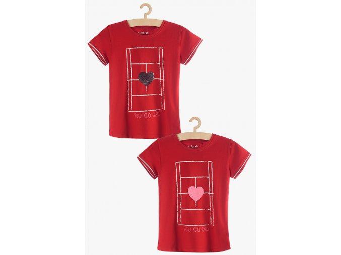 Tričko krátký rukáv s měnícími se flitry (Barva Červená, Velikost 104)