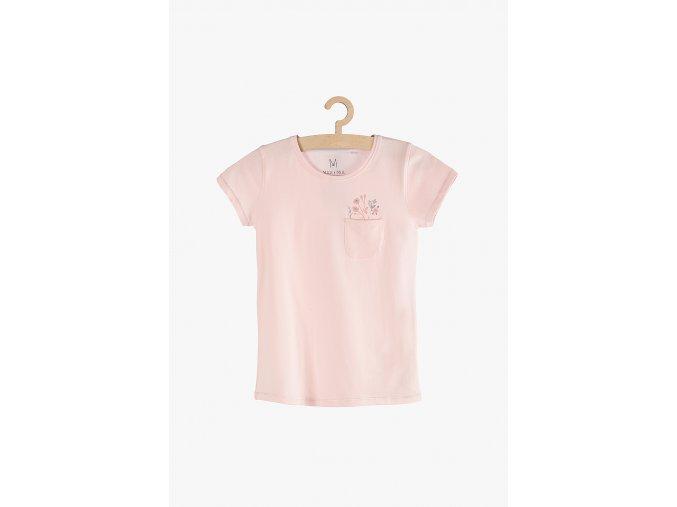Tričko krátký rukáv s potiskem a kapsičkou (Barva Růžová, Velikost 104)