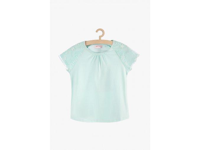 Tričko krátký rukáv s tylem (Barva Zelená, Velikost 134)
