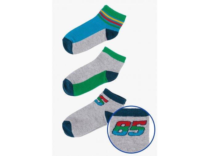 Ponožky - 3 páry v balení (Barva Šedá, Velikost 21/23)