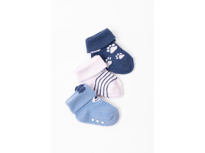 Ponožky - 3 páry v balení (Barva Modrá, Velikost 12/14)
