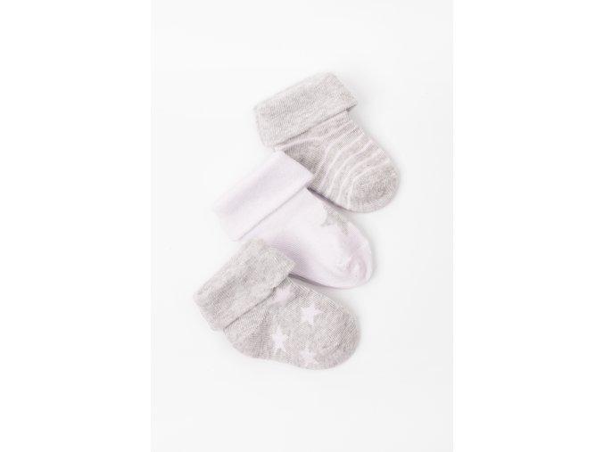 Ponožky - 3 páry v balení (Barva Šedá, Velikost 12/14)
