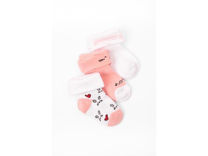 Ponožky - 3 páry v balení (Barva Růžová, Velikost 12/14)