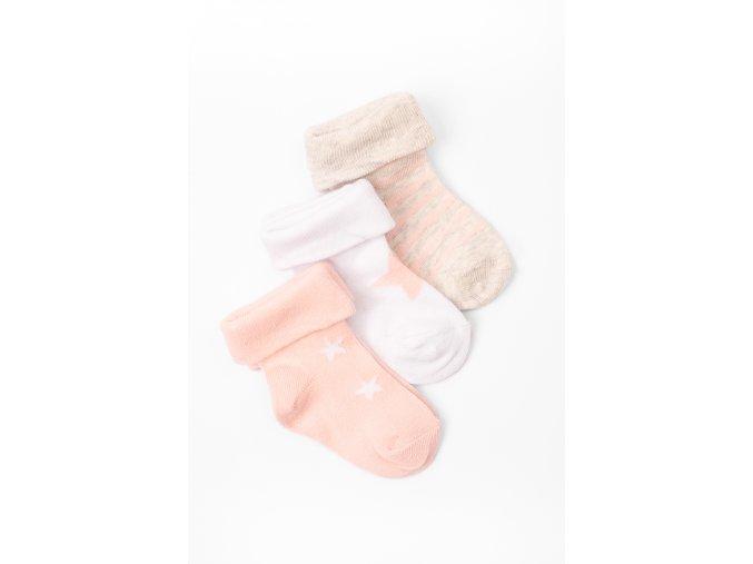 Ponožky - 3 páry v balení (Barva Růžová, Velikost 15/17)