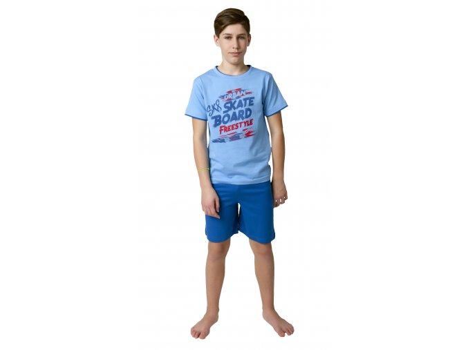 Chlapecké pyžamo krátký rukáv (Barva Modrá, Velikost 140)
