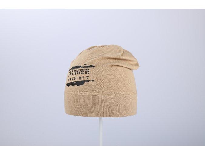 Čepice jaro & podzim s potiskem spadená (Barva Béžová, Velikost 52/54)