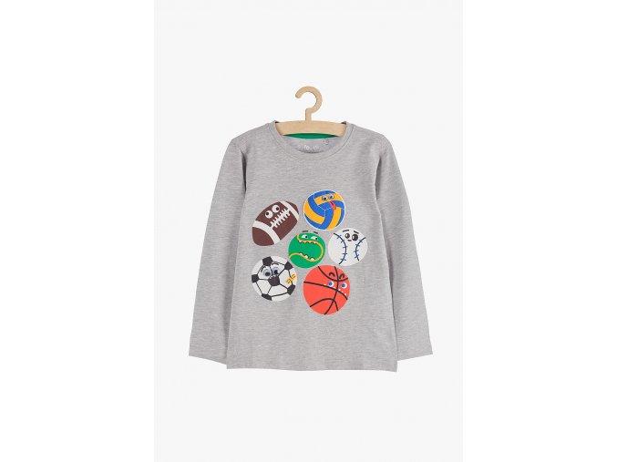 Chlapecké tričko dlouhý rukáv s aplikací (Barva Šedá, Velikost 104)