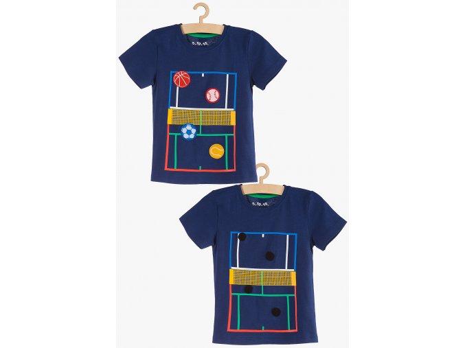 Chlapecké tričko krátký rukáv s 3D aplikací (Barva Modrá, Velikost 104)
