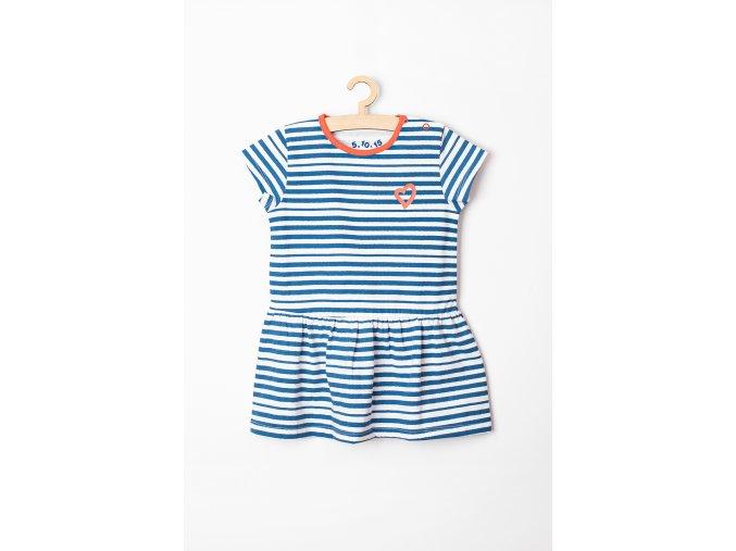Kojenecké šaty proužkované (Barva Modrá, Velikost 62)