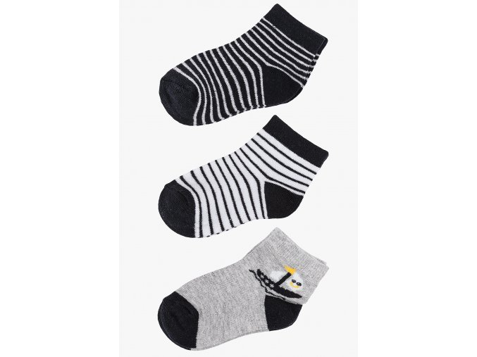Ponožky - 3 páry v balení (Barva Černá, Velikost 21/23)