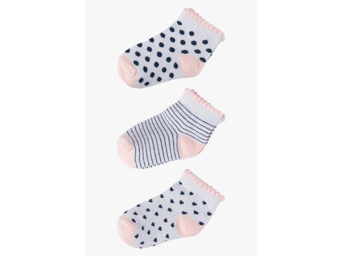 Ponožky - 3 páry v balení (Barva Růžová, Velikost 21/23)