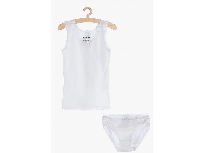 Dívčí souprava - košilka s krajkou a kalhotky (Barva Bílá, Velikost 134/140)