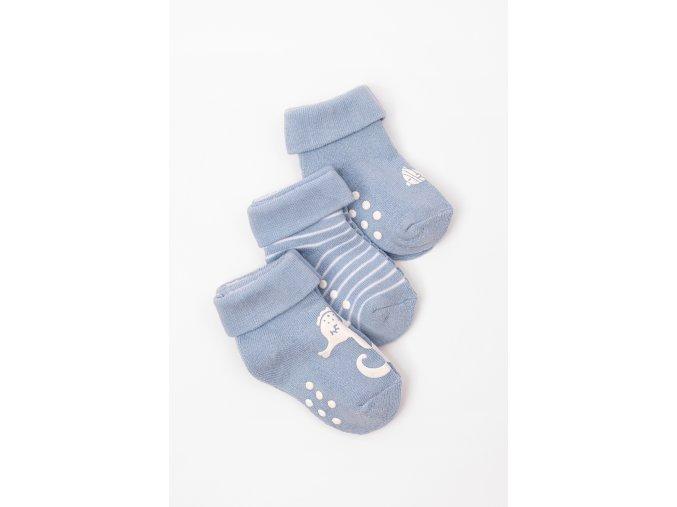 Ponožky - 3 páry v balení (Barva Modrá, Velikost 15/17)