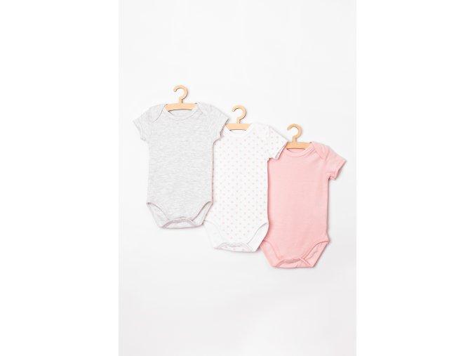 Body krátký rukáv - 3 kusy v balení (Barva Růžová, Velikost 62)