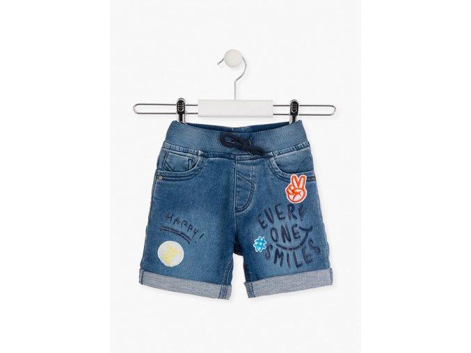 Chlapecké džínové kraťasy s nápisy (Barva Modrá, Velikost 92)