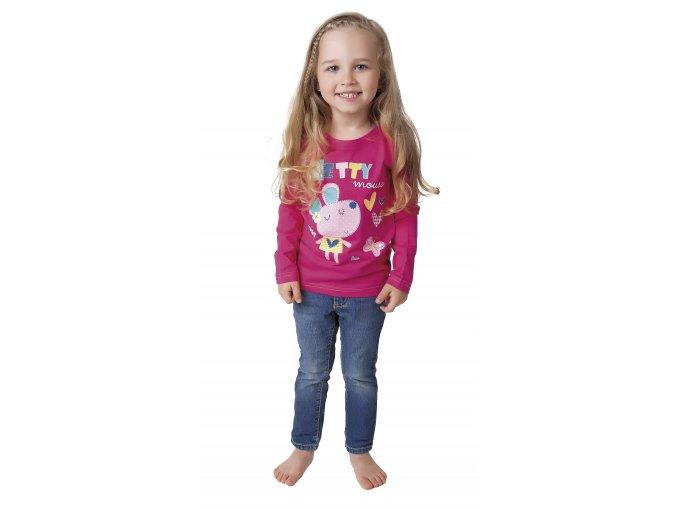 Dívčí tričko dlouhý rukáv s potiskem (Barva Růžová, Velikost 98/104)