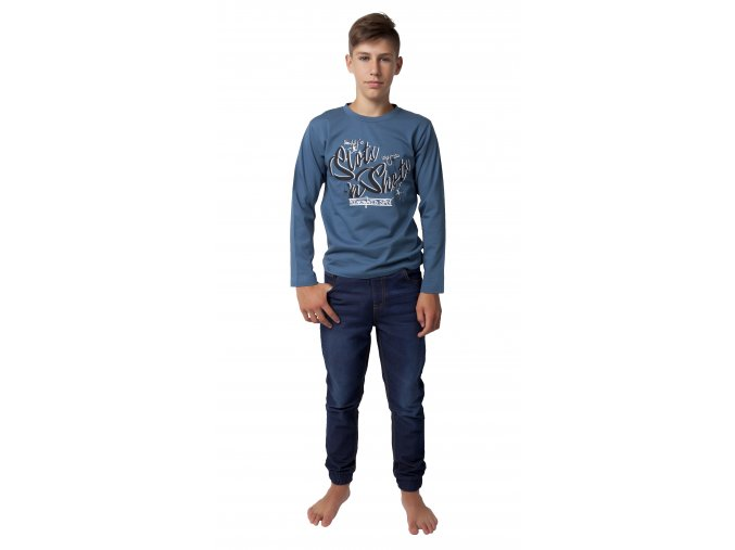 Chlapecké tričko dlouhý rukáv s potiskem (Barva Modrá, Velikost 140)