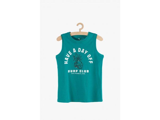 Tričko bez rukávů s potiskem (Barva Zelená, Velikost 134)