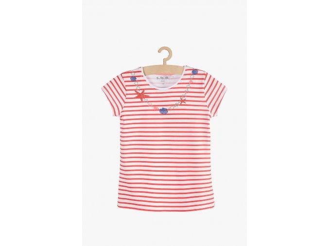 Tričko krátký rukáv proužkované (Barva Červená, Velikost 104)