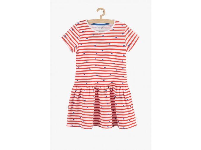 Letní šaty s rukávkem (Barva Červená, Velikost 104)