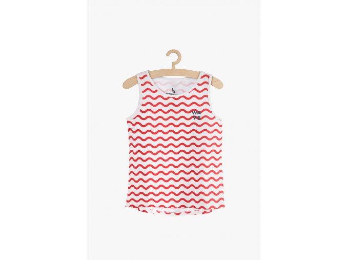 Tričko bez rukávů s potiskem (Barva Červená, Velikost 134)
