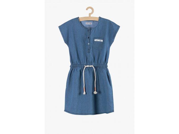 Letní šaty s knoflíky a flitrovou aplikací na kapsičce (Barva Modrá, Velikost 146)