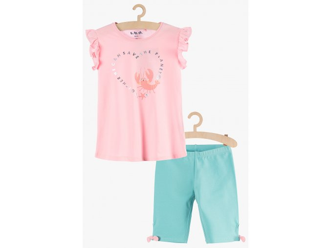 Dívčí souprava - tričko s volánky a krátké legíny (Barva Mix barev, Velikost 104)