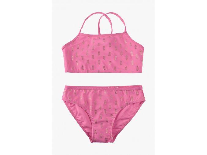 Dívčí dvoudílné plavky s potiskem (Barva Růžová, Velikost 134/140)