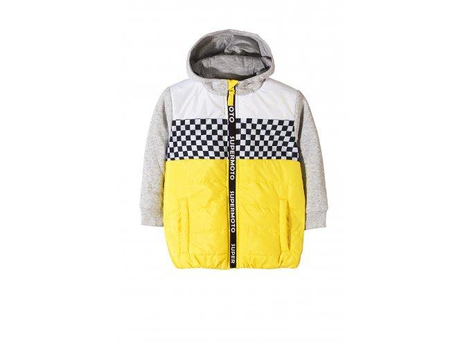 Chlapecká žluto-šedá přechodová bunda s kapucí