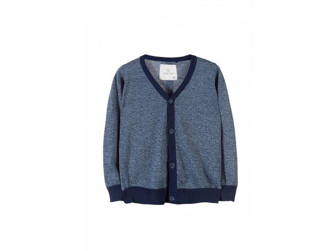 Chlapecký svetr na rozepínání s tmavým lemem