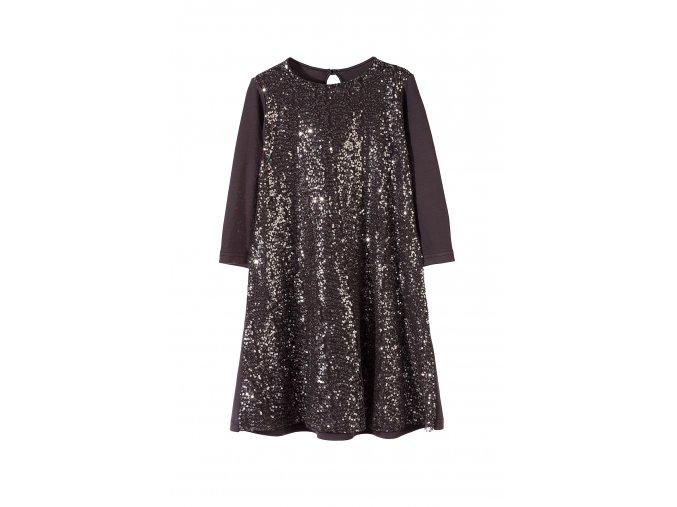 Dívčí šedé společenské šaty s flitry