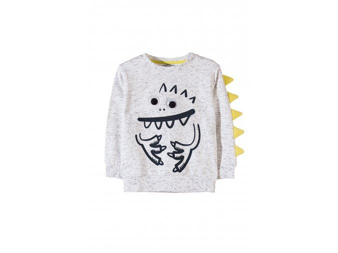 Chlapecké originální tričko s potiskem, očima a aplikací na rukávu