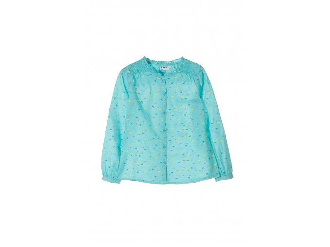 Dívčí košilová halenka s ozdobným lemem