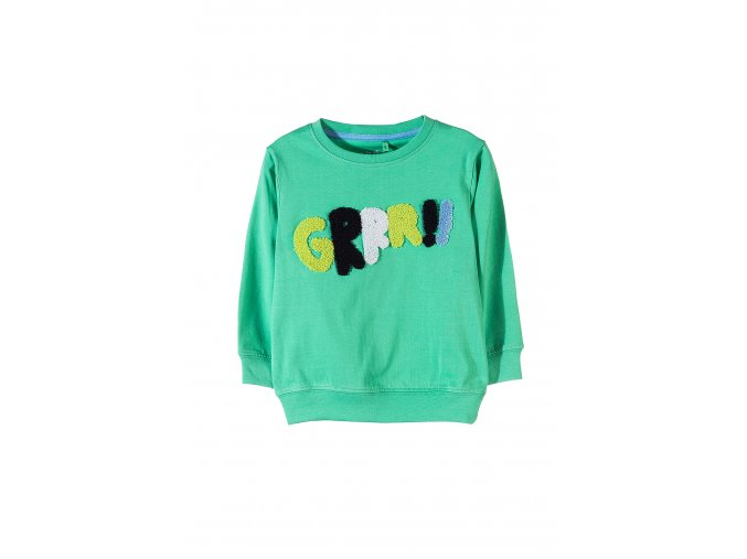 Chlapecké zelené tričko dlouhý rukáv s 3D aplikací