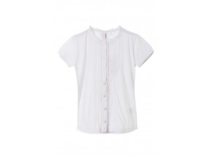 Dívčí bílá halenka krátký rukáv