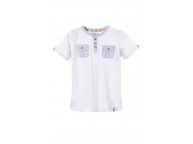 Bílé tričko krátký rukáv s knoflík. légou a kapsičkami